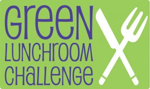"The words ""Green Lunchroom Challenge"" appear next to the white images of a knife and fork crossed in an X formation, all on a yellow-green background"