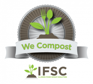We Compost program logo and Illinois Food Scrap Coalition logos