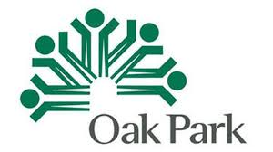 Logo of the Village of Oak Park, IL, containing the words Oak Park with a stylized green semicircle that resembles both a tree with branches and a group of stick figures with their arms raised
