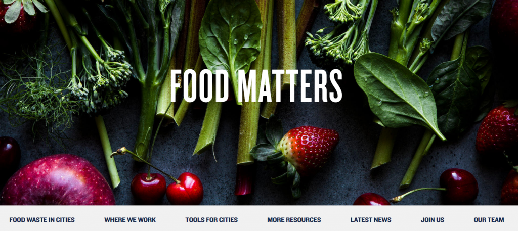 screenshot of food matters pages on NRDC web site