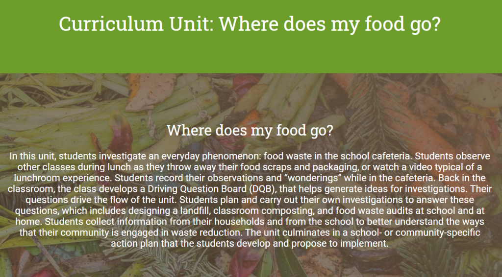 Screenshot from the food waste unit on the Environmental Pathways web site.