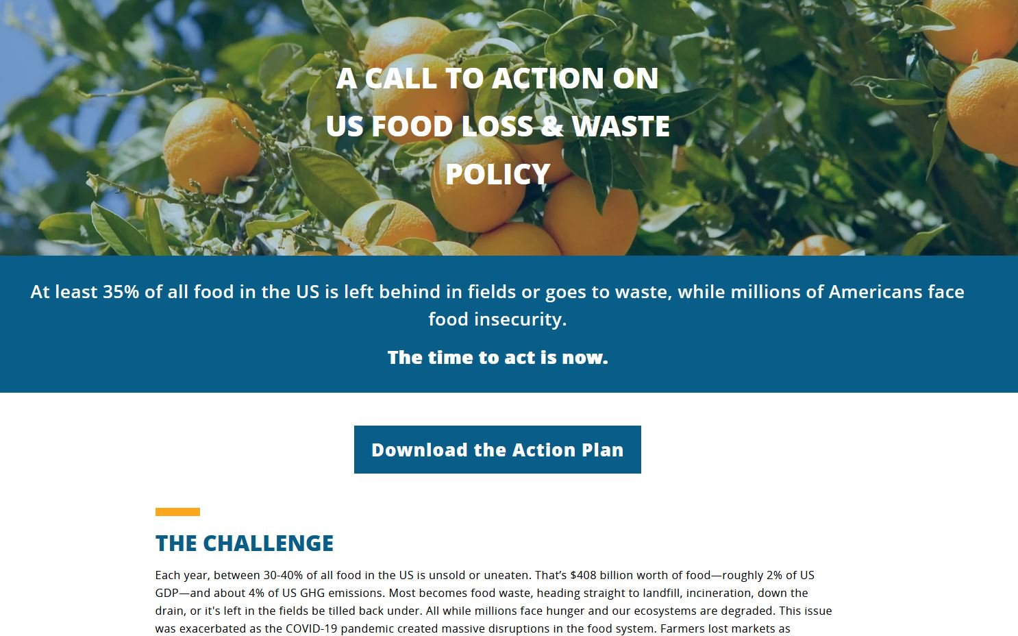 Screen shot of https://foodwasteactionplan.org/.